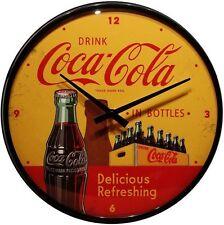 Wanduhr Coca Cola yellow ∅ 31 cm Echtglas Quarz Uhrwerk Blech Uhr 29