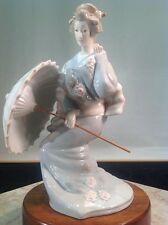 "Vintage Rare Porcelain Japanese Geisha Figurine With Porcelain Umbrella 10"" Tall"