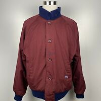 Vintage Lacoste Mens XL Maroon/Navy Blue Reversible Button Bomber Sweater Jacket