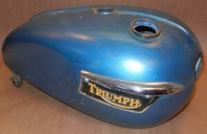1971-on Triumph 650 750 oil in frame 4 gallon large gas fuel tank USED - blue