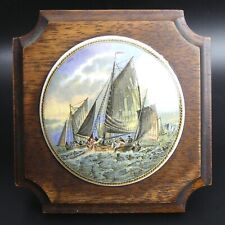 More details for victorian framed coloured pratt ware pot lid 'hauling in the trawl' c.1870
