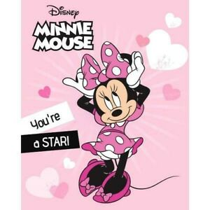 Minnie Mouse Star Character Fleece Blanket Throw Bedroom Children Kid Pink