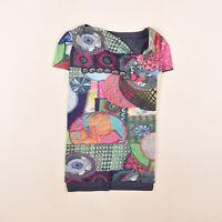 Desigual Damen Lagen Shirt Top mit breiten Trägern Schlüsselloch-Ausschnitt