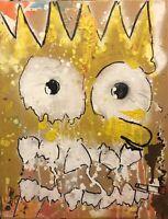 "Beautiful ""Bart Smoking"", Original Abstract Art Canvas Painting Oils, Spray Can"