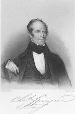 Writer CHARLES SPRAGUE Banker Poet of Boston Tea Party, 1877 Art Print Engraving