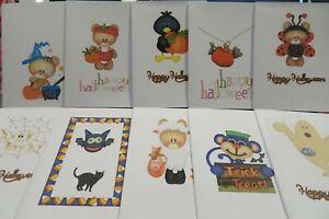 Halloween themed - Pack of 10 notelets + white envelopes
