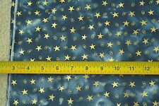 "By-the-Half-Yard, 44"" Wide, Gold Stars on Blue Batik Quilter's Cotton, M6569"