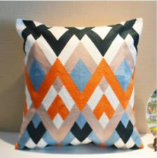 "Orange Black Blue White Zigzag Cotton Aztec 3D Pillow Throw Cushion Cover 18"""