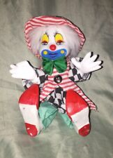 Vintage Clothed Circus Clown w/ Ceramic Head,Hands,Feet. Cloth Body. Approx 6�