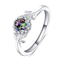 Bague Femme,Diamant,Zirconium,1 Carat,Argent,Fiançailles,Élégante,Chic,MariageFR