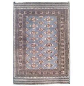4x6 Hand Knotted Wool & Silk Jaldar Bokhara grey Rug B-75651