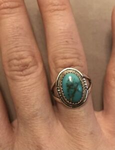 Sterling Silver 925 Natural Royston Turquoise Ring size 6.5/7