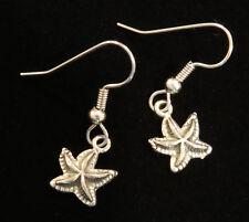 Vacation Beach Sea Seastar Shell Starfish Earrings Antiqued Pewter Ocean Summer