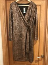 BNWT M&S Collection Gold Wrap Dress size 14 RRP £55