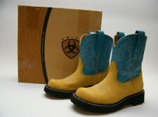WOMENS ARIAT FATBOY FATBABY TAN TURQUOISE LEATHER SUEDE COWBOY WESTERN BOOTS 6 B