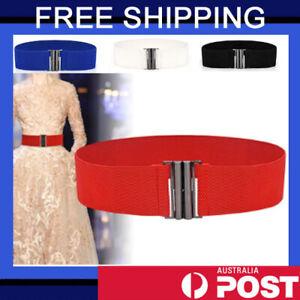 Ladies Stretch Metal Buckle Wide Elastic Waist Belt Dress Corset Cinch Waistband
