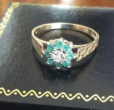 Ladies Vintage 375 9ct Gold Emerald & Diamond Flower Cluster Ring ~ Size N