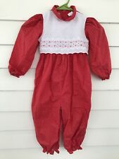 Vintage Girl Jumpsuit Size 4T Toddler Red Peaches'n Cream Romper Jumper Pants