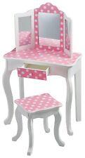 Teamson Kids Fashion Prints Polka Dot Vanity Table and Stool Set Wood Pink