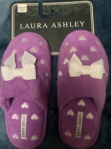 Laura Ashley Women's Slippers Hearts Purple Size M 6.5 - 7.5