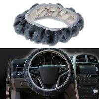 Gray Warm Soft Fuzzy Plush Car Auto Steering Wheel Cover For Winter Universal