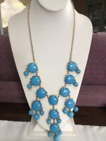 Turquoise Blue Gold Bohemian Bib Statement Necklace