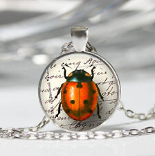 Lady Bug Photo Tibet silver Dome Glass Cabochon Necklace chain Pendant #284