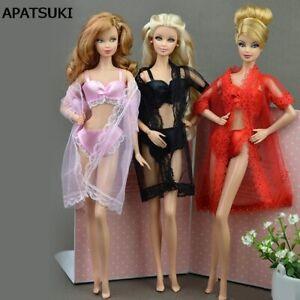 Pajamas Lingerie Lace Long Coat Bra Underwear Clothes For Barbie Doll Clothes