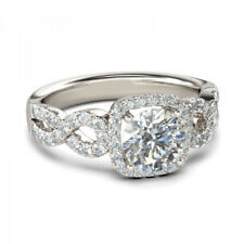 Shank Engagement Ring In 925 Silver Vintage 1.40Ct Round Cut Diamond Halo Split