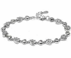 Echtes 925/.Sterlingsilber Herz Tennis Armband Massiv Ketten Zirkonia Unisex
