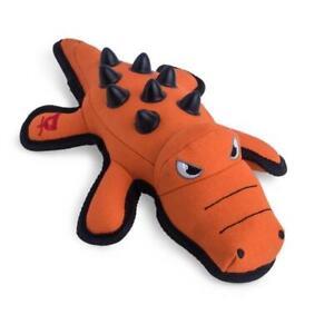 "Petface Squeaky Nobbly Crocodile Super Tough Chewable Canvas Orange Dog Pet 13"""