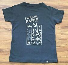 I WAS IN PARIS Boys Girls Sz 2 3 4 Years Gray Eiffel Tower Graphic T-Shirt *TB