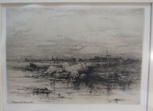 THE MOUTH OF THE APPONIGANSETT ORIGINAL ETCHING BY. R. SWAIN GIFFORD 1883 MATTED