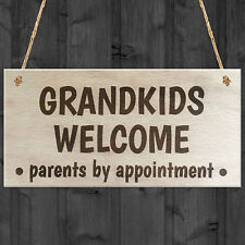 Grandkids Welcome Parents By Appointment Wooden Hanging Plaque Grandparents Gift