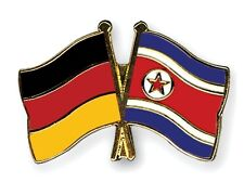 Germany & North Korea Friendship Flags Gold Plated Enamel Lapel Pin Badge