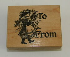 Gift Tag Rubber Stamp To From Girl Holding Present Victorian Braid Psx Stars