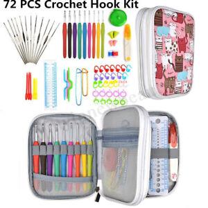 72Pcs Crochet Hooks Set Kit Yarn Knitting Needles Sewing Tools Grip With Bag DIY