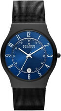 Skagen 233XLTMN Men's Black Titanium Mesh Band Blue Carbon Fiber Dial Watch