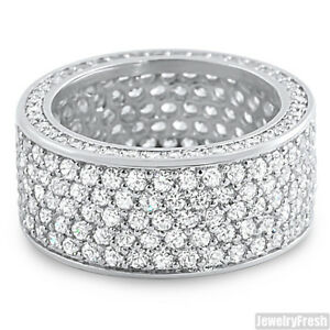 Platinum Finish 360 Degrees Lab Made Fully Iced Out Silver CZ Ring
