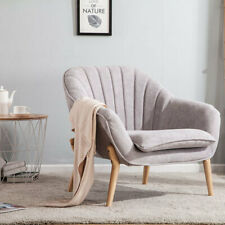 Upholstered Soft Fabric Armchair Oyster Scalloped Back Chair Sofa Leisure Seat