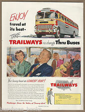 1951 TRAILWAYS advertisement, Trailways bus lines, color artwork, cool old bus