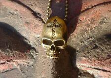 Totenkopf Vintage Kette dunkle Kugelkette Metall mit Skull Skelett Anhänger 60cm