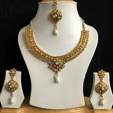 CLEAR GOLD INDIAN MUGHAL KUNDAN JEWELLERY NECKLACE EARRINGS CRYSTAL SET NEW 270