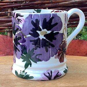 EMMA BRIDGEWATER . Liberty . Hollyhock & Bee 1/2 pint MUG . Purple Flowers