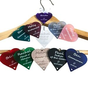 Personalised Wedding Bridal Party Hangers Name Role Heart Acrylic Wooden MDF Tag
