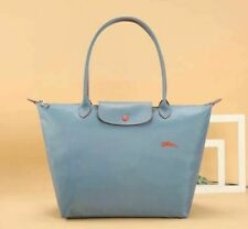 New Longchamp Le Pliage 1899 Nylon Tote Bag with Horse Embroidery Light blue