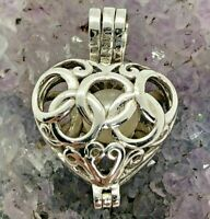Vintage Sterling Silver 6mm White Pearl Ornate Cage Heart Pendant 2.8 Grams
