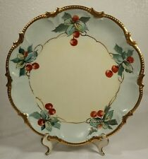 "Antique Limoges France Cherry Hand Painted Porcelain 9 1/4"" Plate"