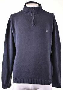 CHAPS Mens Zip Neck Jumper Sweater XL Navy Blue Cotton IE15