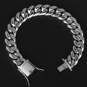 Mens White Gold Plated Miami Cuban Link Bracelet Stainless Steel With Diamond